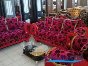 Kursi Sofa King 321 Motif Bunga Merah Murah